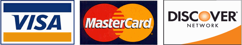 We accept Visa Mastercard and Discover credit cards.